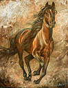 Arthur Braginsky - Running horse 90�70, oil on canvas, 2009